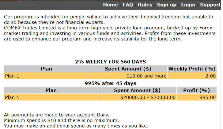 Example of a High Yield Investment Program promising 2% return on investment per week