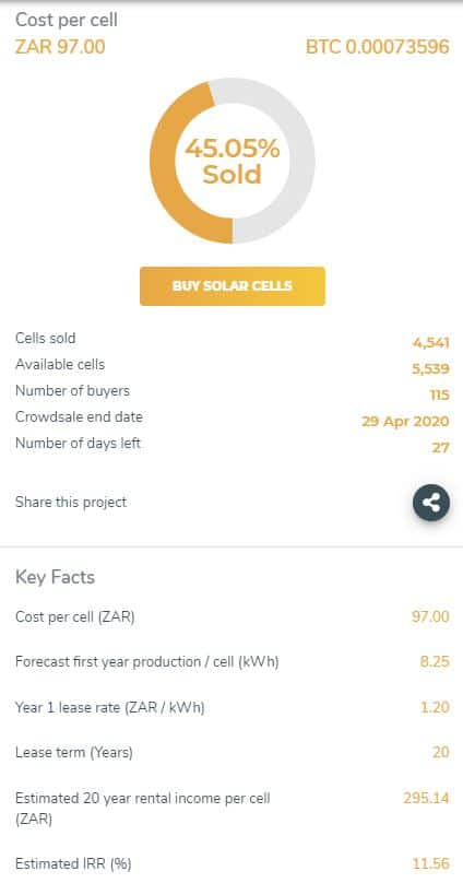 a solar project from thesunexchange that accepts investments for passive income
